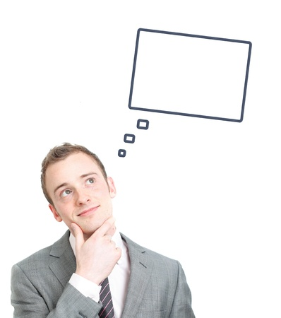 dream planning: Business man contemplating