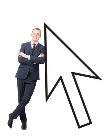 A business man leaning on a cursor