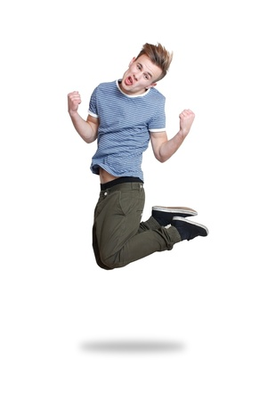 A guy jumping with joy photo