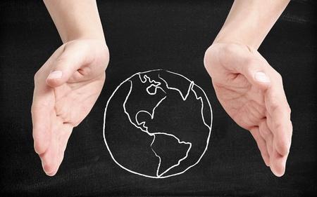 paz mundial: Apoyo a la tierra Foto de archivo