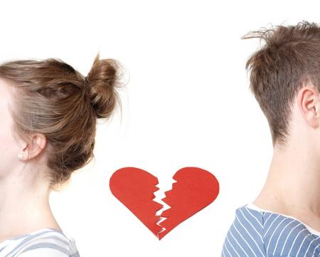 pareja discutiendo: Corazón roto Foto de archivo