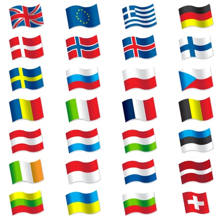 Flags of Europe Vector