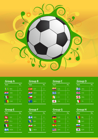Soccer Championship Brazil 2014 Flags  Table   Vector