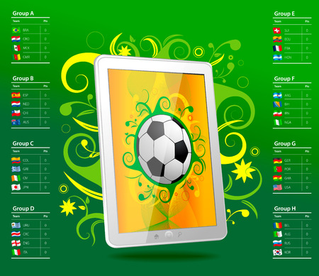 Tablet with soccer ball, brazil, table Vector