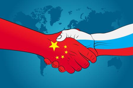 russia: Handshake China and Russia Illustration