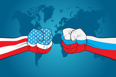 USA versus Russia Illustration