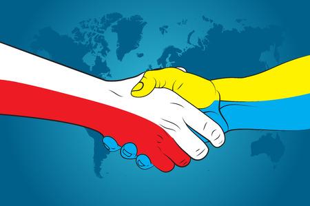 greets: Handshake Poland and Ukraine Illustration