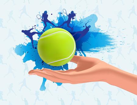 beaten: Tennis ball on hand background Illustration