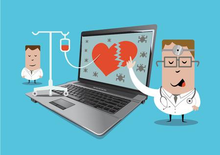 experto en informática diagnostica el problema y reparar la computadora portátil.
