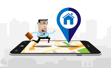 using smartphone: Running businessman on a smartphone with a map displayed