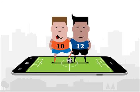 deux joueurs de football s & # 39 ; embrassent sur la surface d & # 39 ; un smartphone