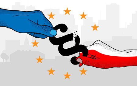 European Union versus Poland. Hands holding paragraph sign.
