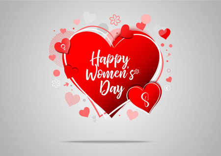 Happy Womens Day. Womens Day background. 8 March Womens Day greeting card. Vector illustration.
