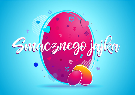Happy easter vector background design template. Polish version. Çizim