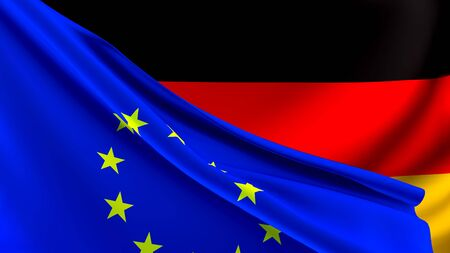 Germany and European Union Relations Concept - Merged Flags of German and the EU 3D Illustration