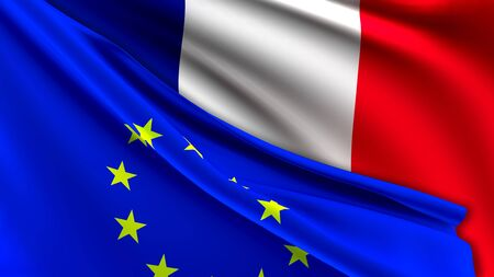 France and European Union Relations Concept - Merged Flags of France and the EU 3D Illustration 写真素材