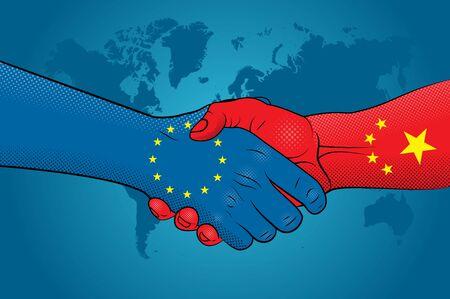 European Union-China relations. Handshake European Union and China Good economic relations between the European Union and China.