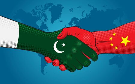 Pakistan-China relations. Handshake Pakistan and China. Good economic relations between Pakistan and China.