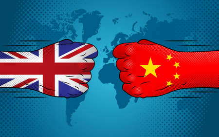 Conflict between United Kingdom and China. UK-China relations. England versus China.