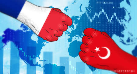 Conflict between France and Turkey. France-Turkey relations. France versus Turkey. Crisis in diplomatic relations.