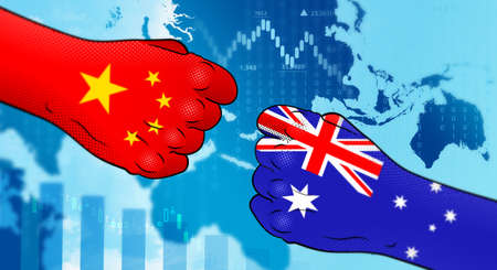 Conflict between China and Australia. China – Australia relations. China versus Australia. Strained relations between China and Australia.
