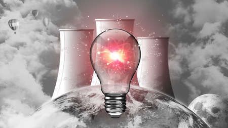 A light bulb powered by nuclear energy. Nuclear energy, nuclear power plant, sustainable energy source concept.
