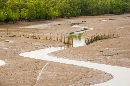 ebb: Traditional fish trap when ebb tide Stock Photo