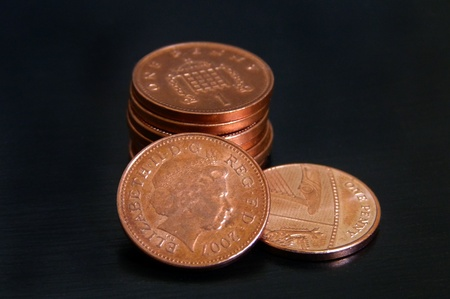1 penny coins in UK pounds photo