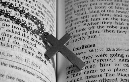 Bible with a cross B&W photo