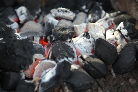 chargrill: Charcoal Briquettes on the Barbecue Stock Photo