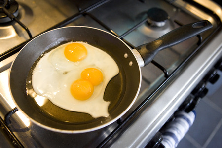 Twin Fried Eggs in a Frying Pan photo