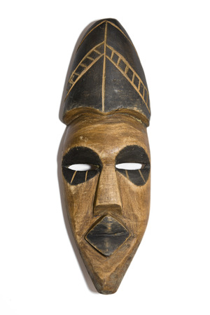 Wooden Zulu Mask on a White  photo