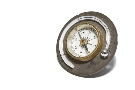 Vintage Compass with Thermometer on a White  Stock fotó