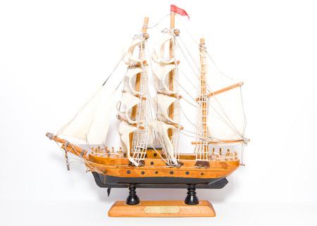 Stock Photo - Handmade Sailing Boat Toy Isolated On White photo