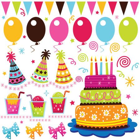 gateau anniversaire: Éléments de célébration d'anniversaire rétro