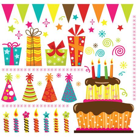 pastel cumpleaños: Elementos fiesta de cumpleaños