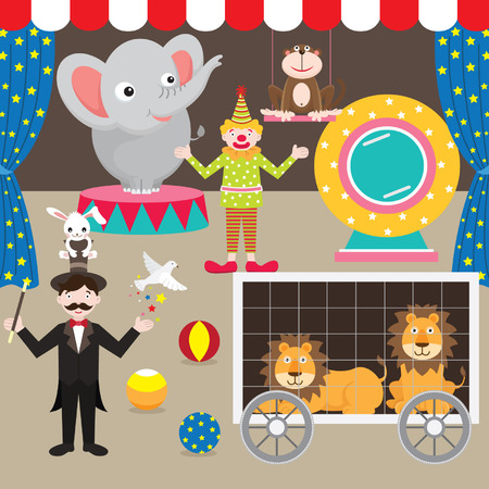 circus performer: Circus Elements Set Illustration