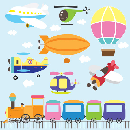 people travelling: Cute Vehicles Set