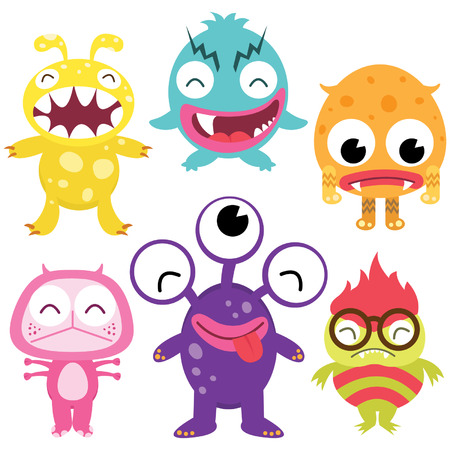 cartoon faces: Silly Cute Monsters Set