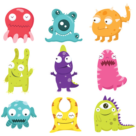 Cute Monster Collection Set Vector
