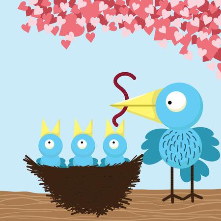 hungry: Loving mother Bird feeding Illustration