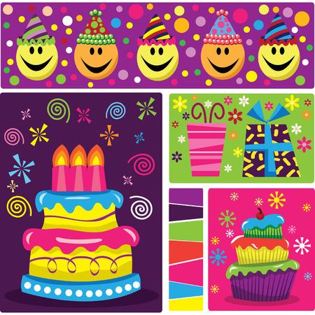 birthday presents: Retro Birthday Celebration Illustration