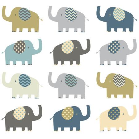 cute elephant: Retro Elephant pattern