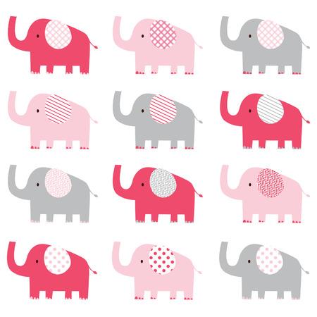 животные: Симпатичные шаблон розовый слон