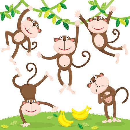 mono caricatura: Mono lindo con el plátano