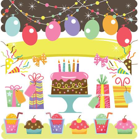 tortas de cumpleaños: Retro Elementos de cumpleaños