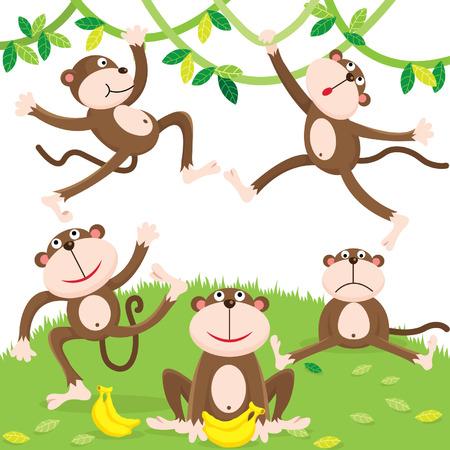 jungle jumping: Cartoon monkey set