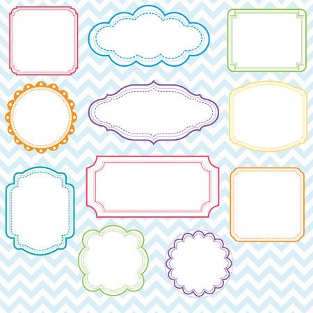 Kleurrijke Frames Design Set Stock Illustratie