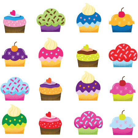 Colorful Sweet Cupcakes Vector