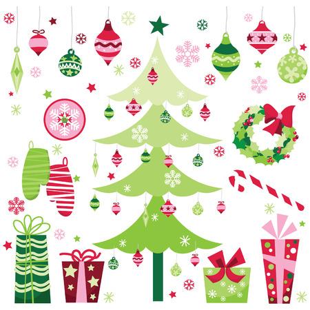 xs: Retro Christmas Design Elements Illustration